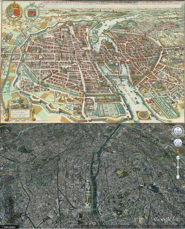 En haut, Paris en 1615 selon le Plan de Merian - En bas, Paris en 2012 vu par Google Earth