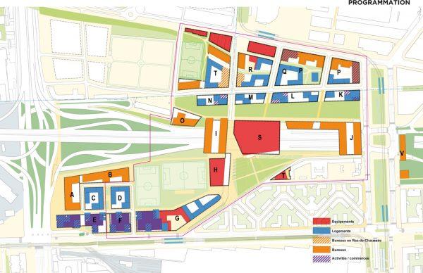 Etude programmatique par les urbanistes Devillers & Associés dans le cadre du programme de . Les bâtiments M, L, K, J et S sont situés en totalité ou en partie sur la parcelle de la Gare des Mines et le périphérique couvert