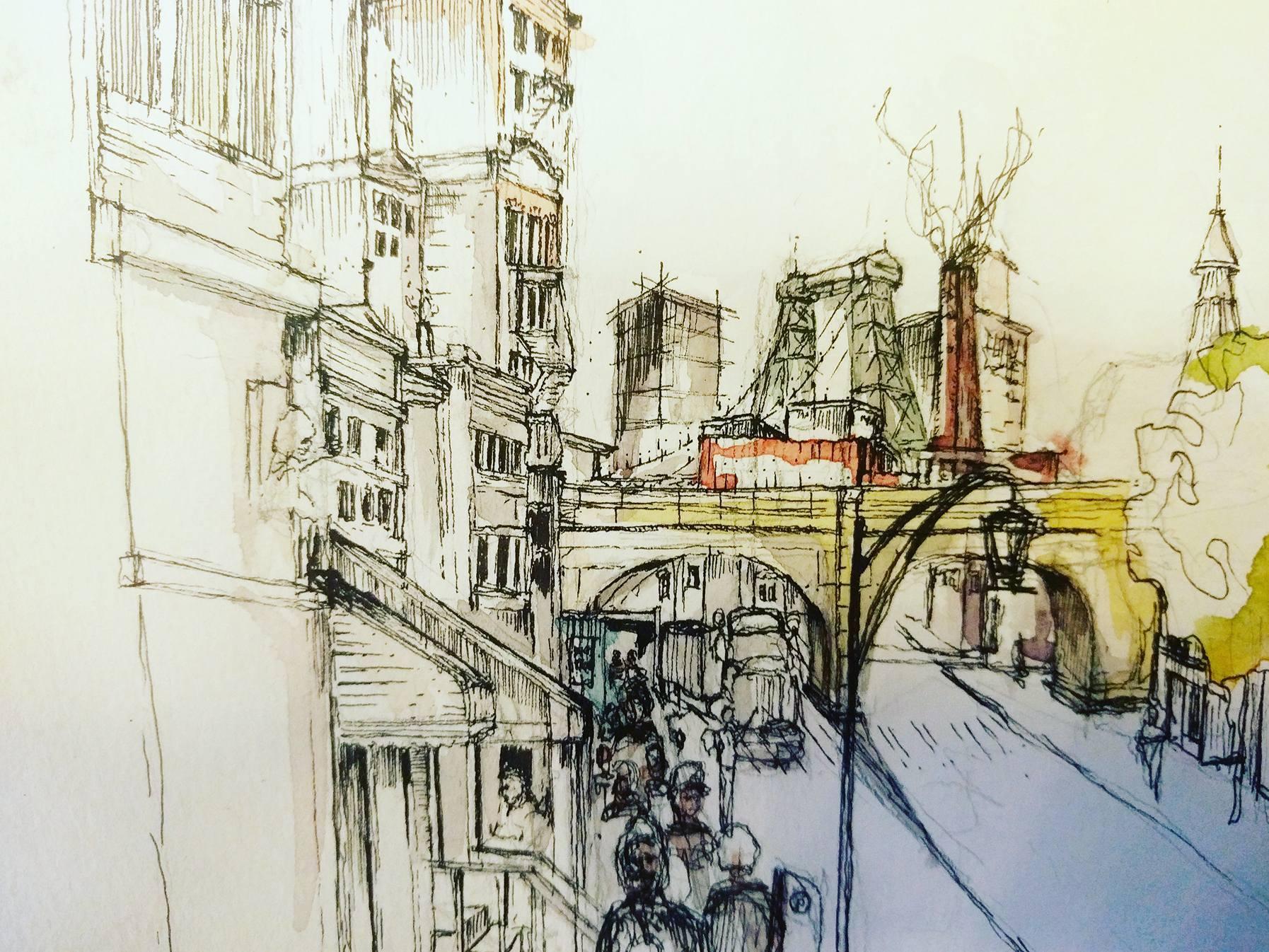 Vue de l'Avenue Bedford dessin