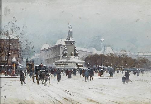 Paris, Place de la République en hiver par Eugèle Galien Laloue / Juniore